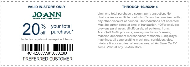Joann fabrics coupon 25 off entire purchase - Chasing firefly coupon