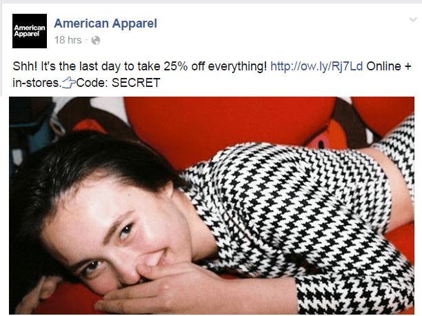 American Apparel Facebook page