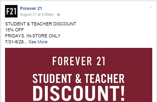 Forever 21 Facebook page