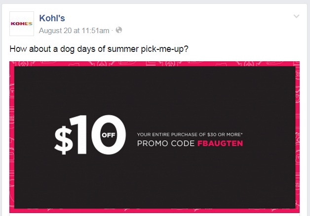 Kohl's Facebook page
