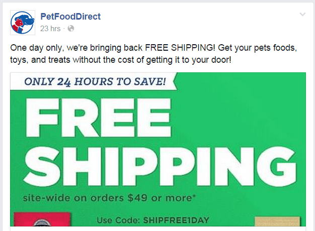 Pet Food Direct Facebook page