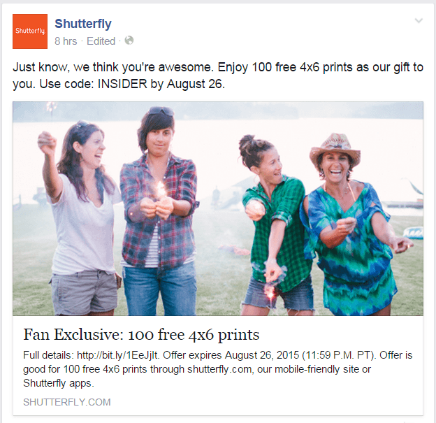 Shutterfly Facebook page