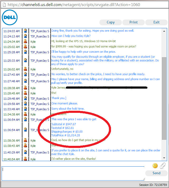 Dell chat session