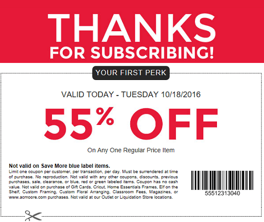 AC Moore New Email Subscriber Coupon