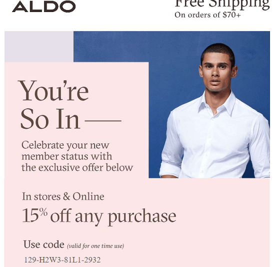 Aldo New Email Subscriber Coupon