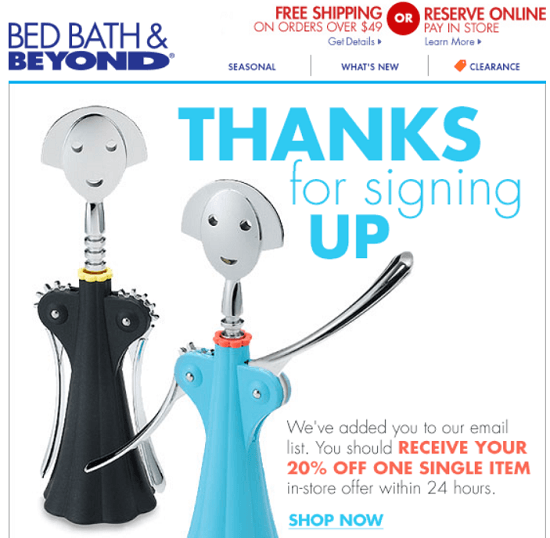Bed Bath & Beyond New Email Subscriber Coupon