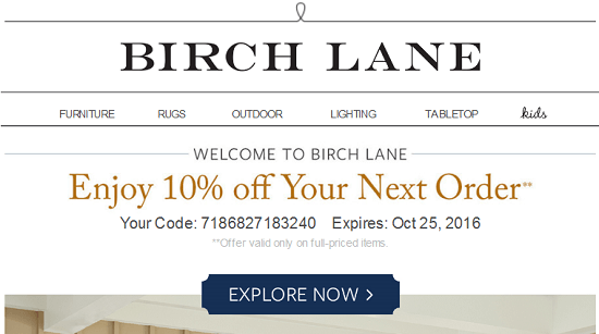 Birch Lane New Email Subscriber Coupon
