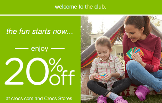 Crocs New Email Subscriber Coupon