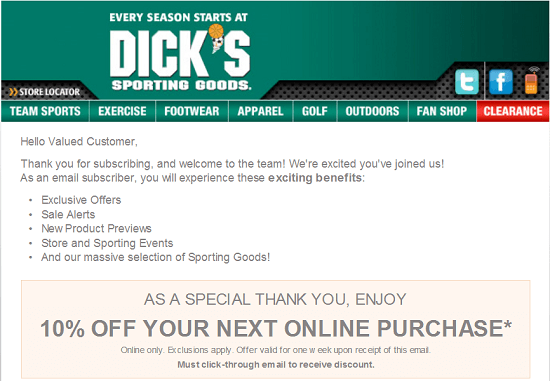 Dick's New Email Subscriber Coupon