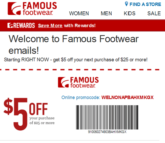 Famous Footwear New Email Subscriber Coupon