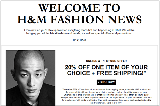 H and M New Email Subscriber Coupon