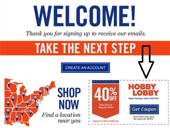 Hobby Lobby New Email Subscriber Coupon