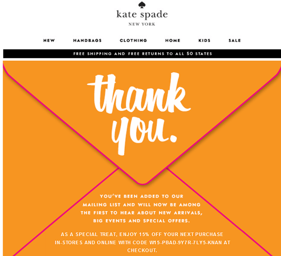 Kate Spade New Email Subscriber Coupon