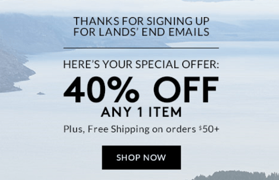 Lands' End New Email Subscriber Coupon
