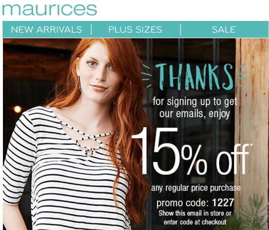 Maurices New Email Subscriber Coupon