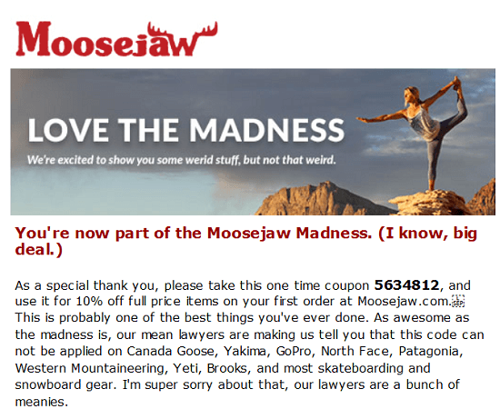 Moosejaw New Email Subscriber Coupon