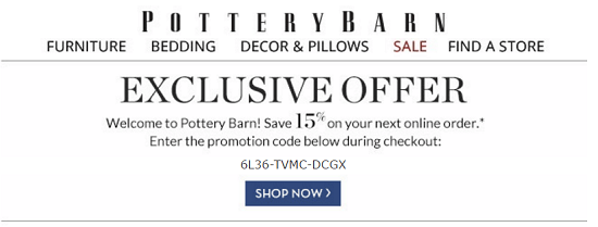 Pottery Barn New Email Subscriber Coupon