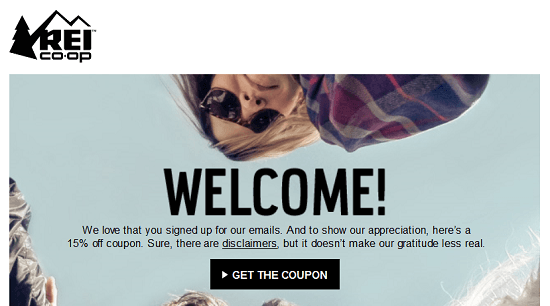 REI New Email Subscriber Coupon