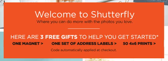 Shutterfly New Email Subscriber Coupon