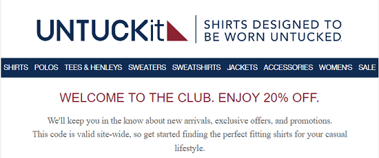 UntuckIt New Email Subscriber Coupon