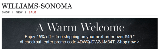 Williams Sonoma New Email Subscriber Coupon