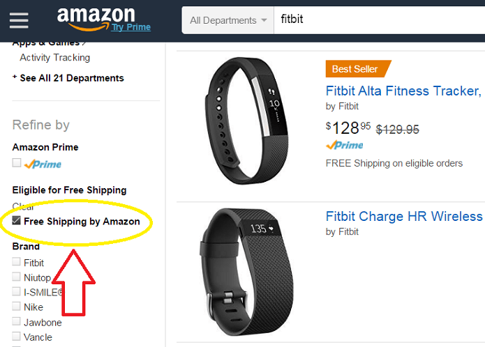 Amazon Free Shipping Search