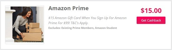 TopCashBack gives $15 Amazon gift card