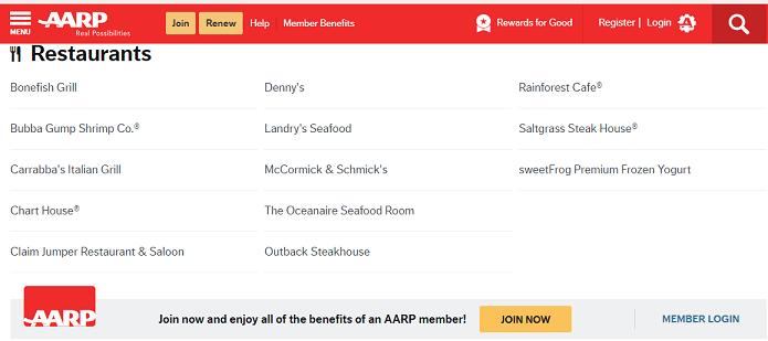 AARP Senior Discounts