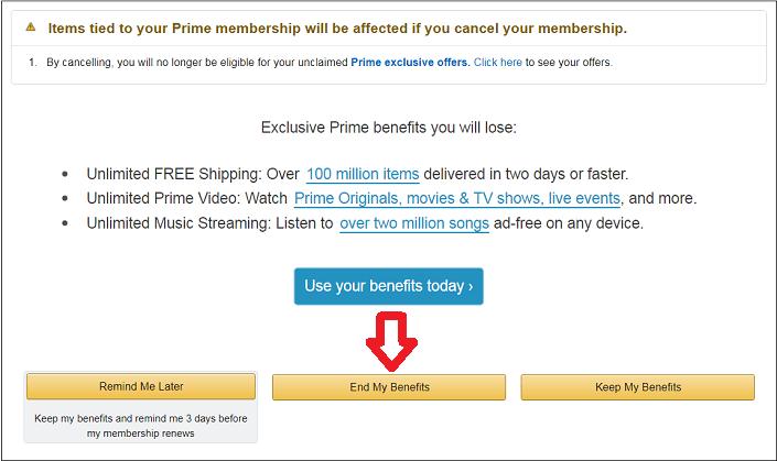 Cancel Amazon Link