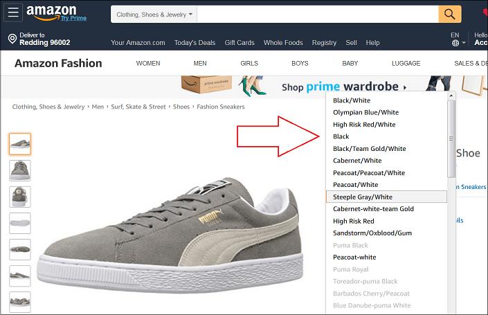 Puma Shoes on Amazon Desktop