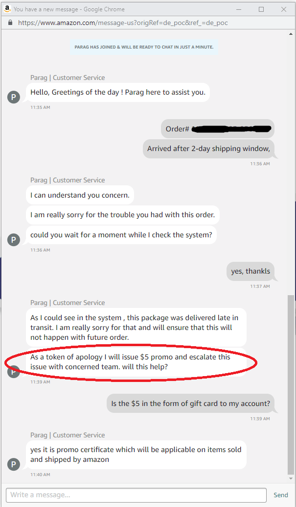 Amazon Chat Session