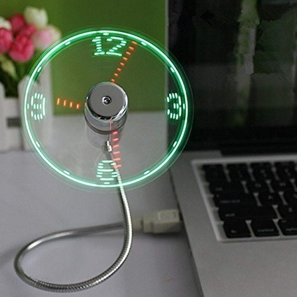 ONXE USB LED Clock Fan with Real Time Display