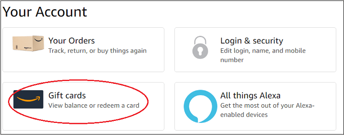 Amazon account page