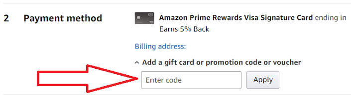 Apply gift card directly to Amazon purchase