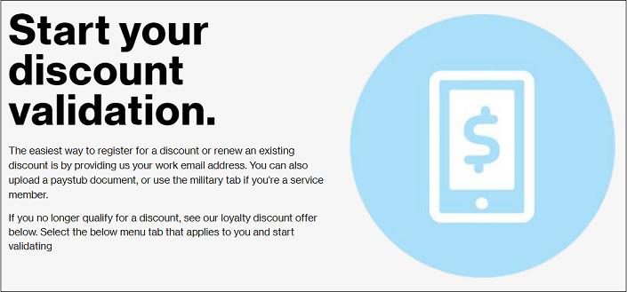 Verizon validate discount