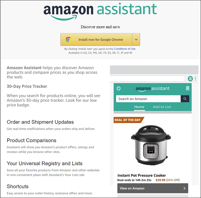 Amazon Assistant price tracker