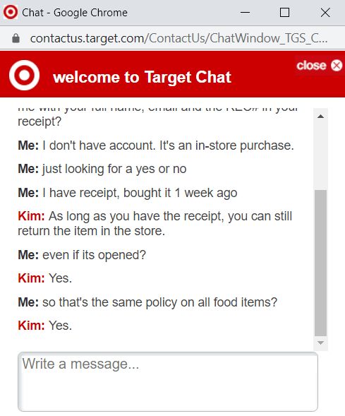Target Food Return Policy