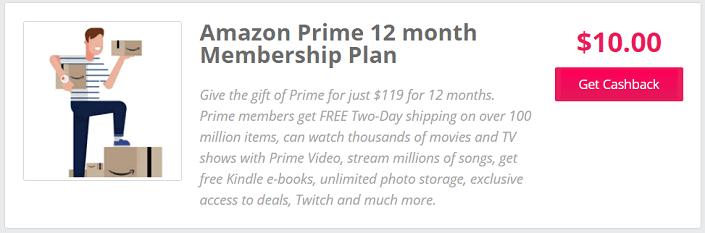 TopCashBack Prime discount