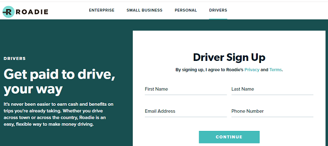 Roadie driver sign-up